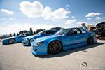 Jimmy Up Matsuri drift bash team Nuisance S13 240SX, E46 BMW and FC3S Mazda rX-7 in the pits photo credit: Luke Munnell