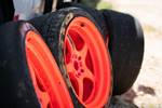 Jimmy Up Matsuri drift bash Matt Powers S14 Nissan 240SX bright orange wheels and Nitto tires