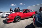 Jimmy Up Matsuri drift bash AE86 red Toyota Corolla hachi roku in the pits