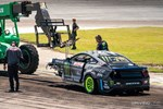 Vaughn Gittin Jr. had to be towed off course by a forklift after a major crash in the final practice session before the Top 32 battles photo credit: Valters Boze
