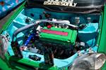 Eibach Honda meet and drags at Fontana Green EG Civic coupe B-swap engine bay