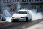Eibach Honda meet and drags at Fontana white USDM DC2 Acura Integra burnout box