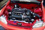 Eibach Honda Meet and Drags at Fontana turbocharged K-series EG Civic engine bay blacked out