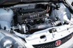 Eibach Honda Meet and Drags at Fontana gray and black K20-swapped EP3 Honda Civic Si engine bay