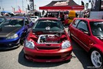 Eibach Honda Meet and Drags at Fontana turbocharged B-series red EK Civic hatch front with engine showing