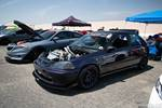 Eibach Honda Meet and Drags at Fontana dark purple turbocharged EK Civic hatch