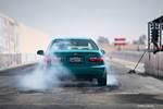 Eibach Honda Meet and Drags at Fontana EJ Honda Civic coupe burnout from rear