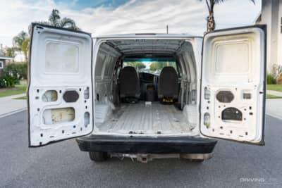 Van rear doors open